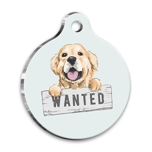 İllüstrasyon Golden Retriever 3 Yuvarlak Köpek Künyesi