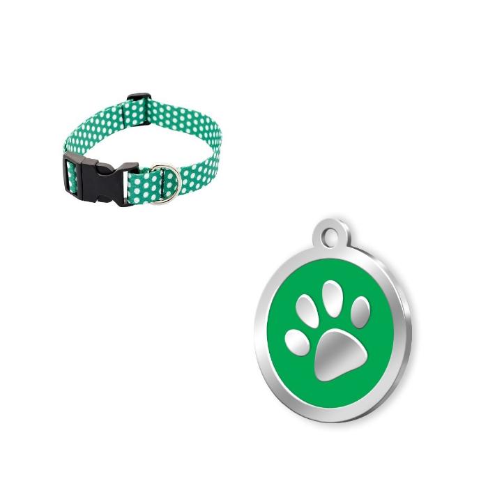 Mineli Seri Pati Desenli Künye Yeşil+Yeşil Puantiyeli Köpek Tasması 25-40cm