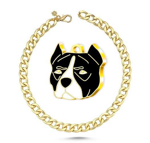 Altın Kaplama Pitbull Köpek Künyesi (Siyah)+Köpek Kolyesi - Gold