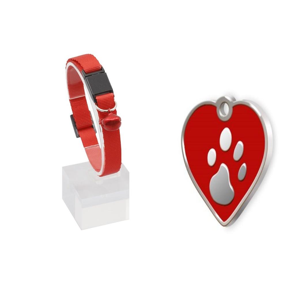 Güvenlik Kilitli Zilli ve Ayarlanabilir  Kedi Boyun Tasması 22-30 cm+Kalp Şeklinde Mineli Künye