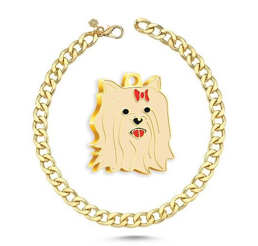 Altın Kaplama Yorkshire Terrier Köpek Künyesi+Gold Kolye