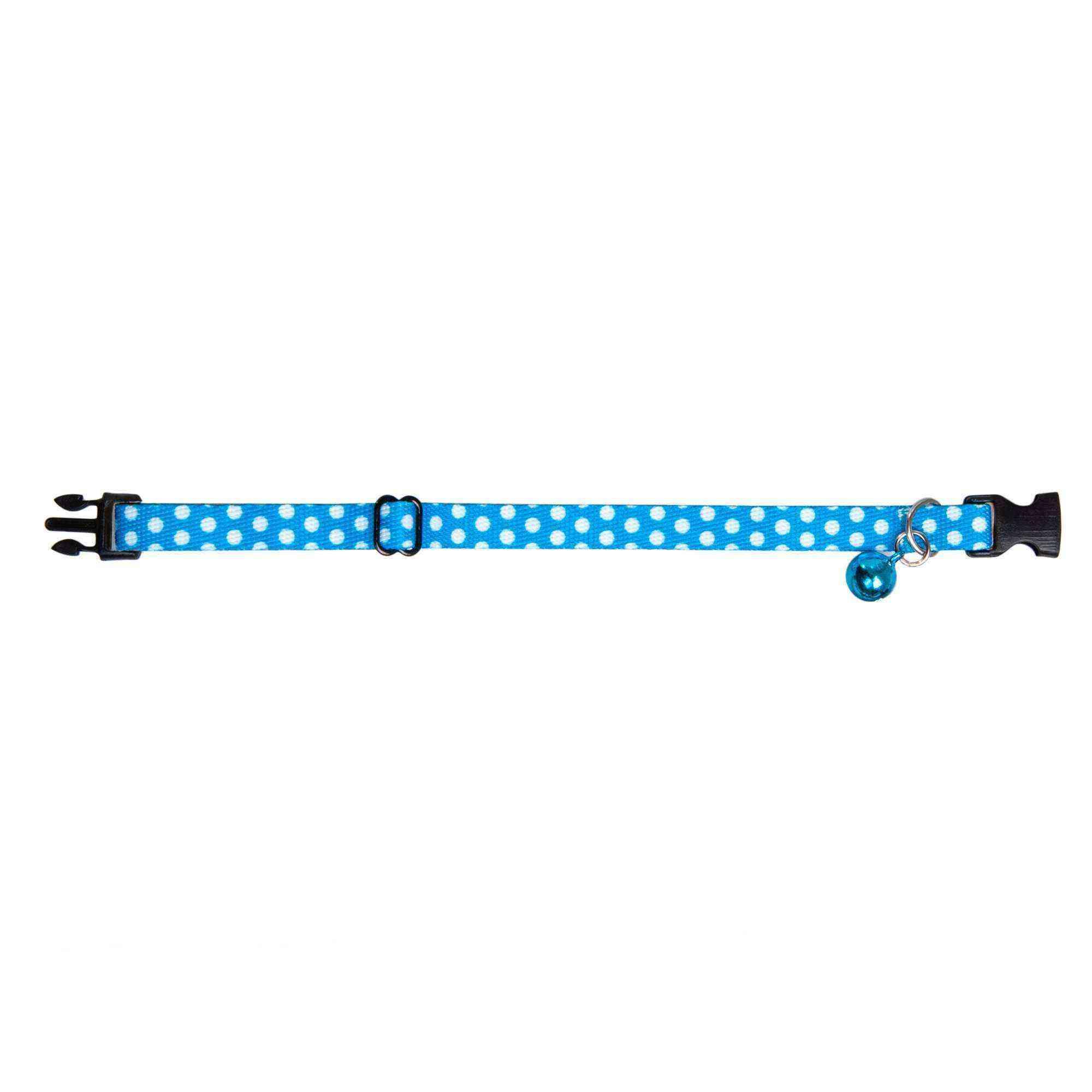Desenli Zilli Ayarlanabilir Kedi Boyun Tasması 22-30 cm Mavi