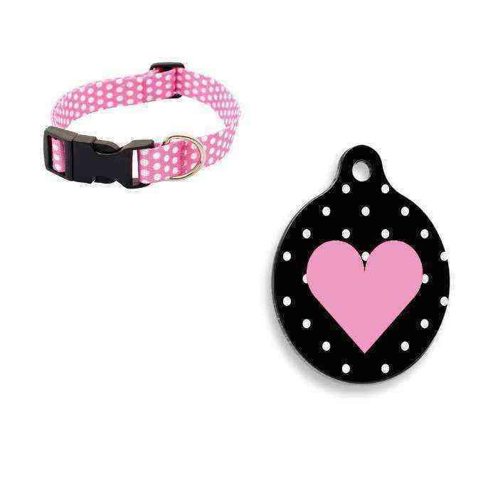Desenli Ayarlanabilir Köpek Boyun Tasması M Boy 25-40 cm Pembe+Pembe Kalp Yuvarlak Şekilli Kedi ve Köpek Künyesi