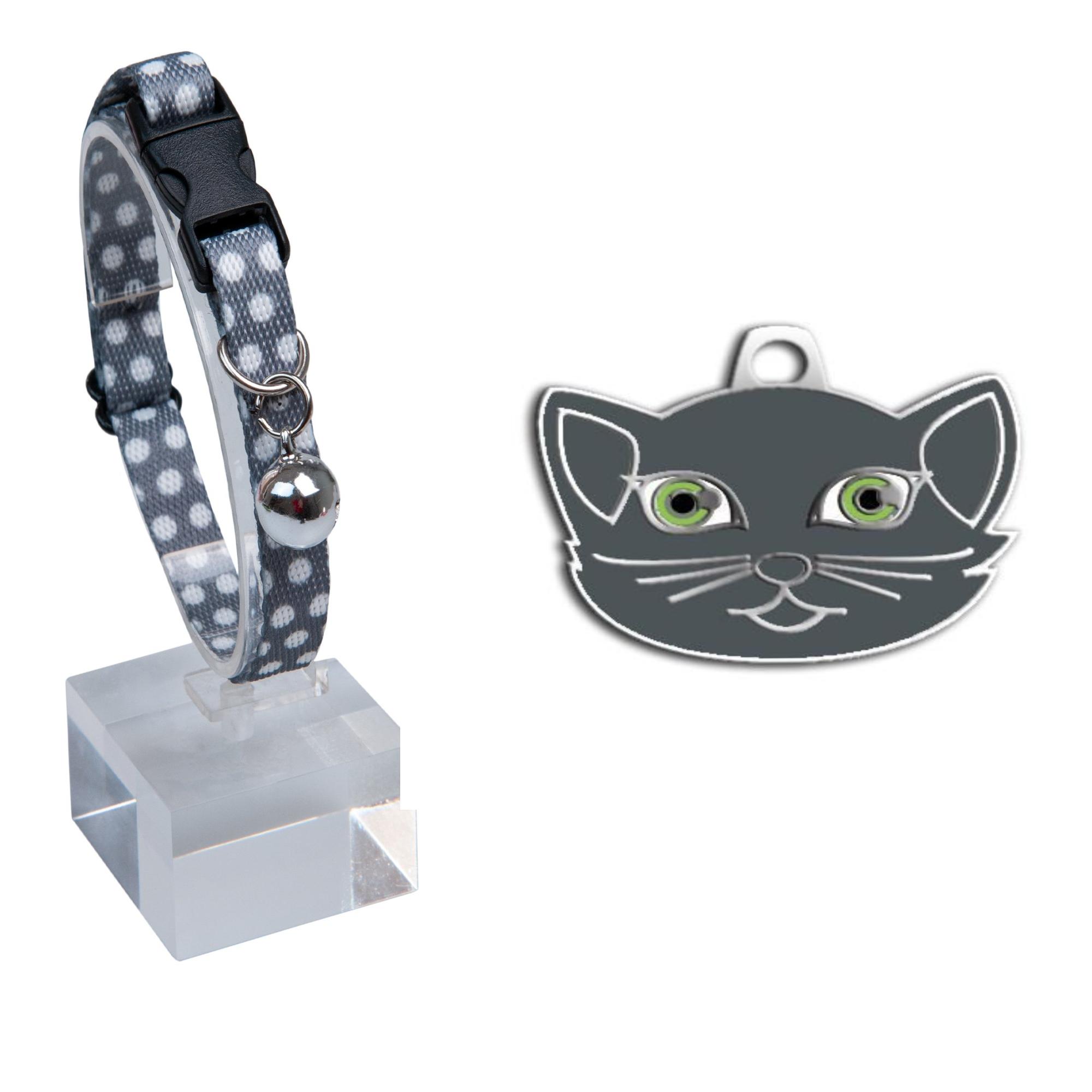 Desenli Zilli Ayarlanabilir Kedi Boyun Tasması 22-30 cm Gri+British Shorthair Kedi Künyesi Kombin 4
