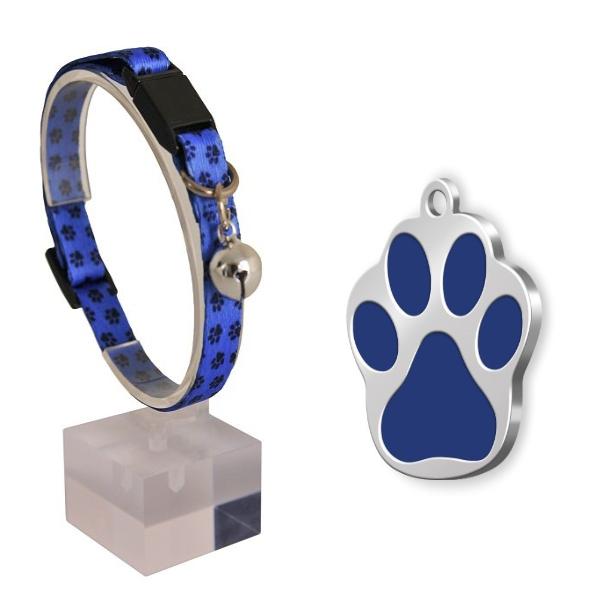 Güvenlik Kilitli Ayarlanabilir Yumuşak Doku Kedi Boyun Tasması 22-30 cm+Mineli Kemik şeklinde künye