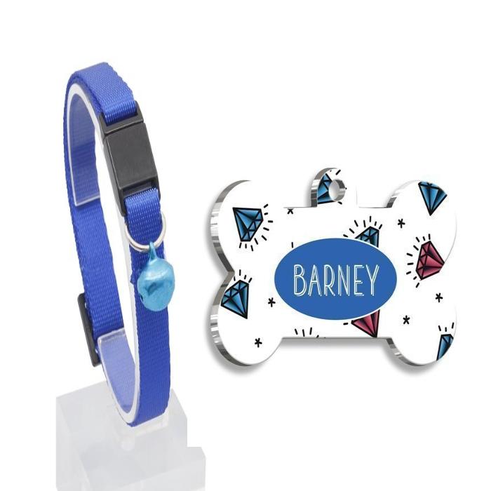 Güvenlik Kilitli Zilli ve Ayarlanabilir Lacivert Kedi Boyun Tasması 22-30 cm+Mavi Elmaslı Kemik Şekilli Kedi Köpek Künyesi