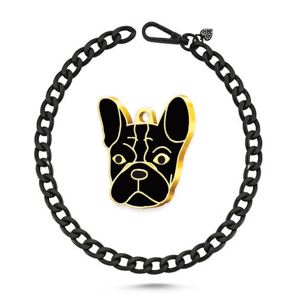 Köpek Kolyesi Siyah-Altın Kaplama French Bulldog Künye